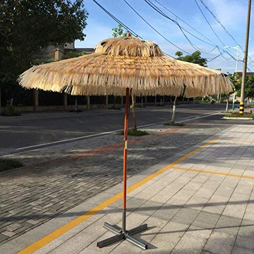 ZXL Square Beach Hawaiian Thatched Umbrella, 1.8 * 1.8m Hula Turkish Tiki Umbrella, Art Style, Wood Umbrella Outdoor Umbrellas, Adecuado para Playas, Fiestas, Decoraciones de jardín, etc.