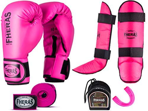 Kit Muay Thai Luva 10oz Bandagem Caneleira Bucal Fheras Rosa