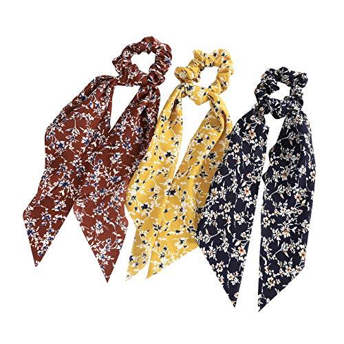 WELROG 3 Stücke Frauen Haar Haargummis Haar Krawatten Kopfverpackung Gummibänder Haar Zubehör (Kaffee/Gelb/Marineblau)