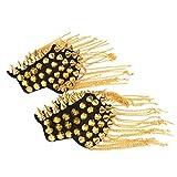 BESTOYARD Fringe Shoulder Pieces Rivet Tassel Chain Epaulet Shoulder Boards Badge Halloween Costume Uniform Accessories (Gold)