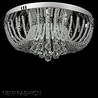 A1A9 Lustre en cristal de luxe moderne, gouttelettes claires K9 Plafonniers en cristal Luminaire suspendu chromé encastré ...
