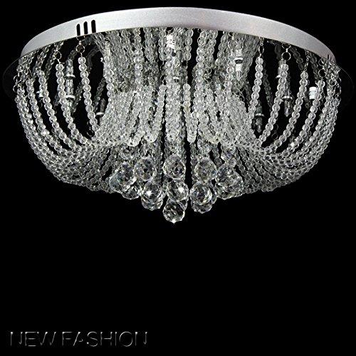Moderner Kristallleuchter, Klare Tröpfchen K9 Kristall Deckenleuchte Leuchte, Runde Chrom Unterputz Pendelleuchte für Esszimmer, Wohnzimmer, Flur, Lounge, Größe: D50cm H20cm