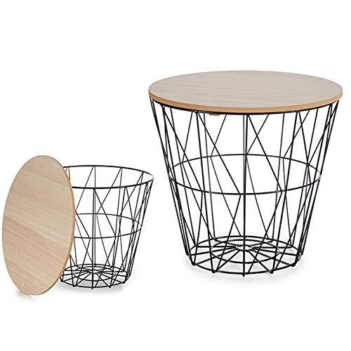 Casamia - Mesa auxiliar redonda, diámetro de 32 cm, estructura de metal, color negro o blanco