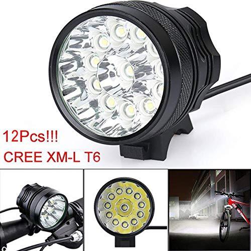 Eariy LED Fahrradlicht, 30000 Lm 12x CREE T6 StVZO Zugelassen Fahrradlampe,Fahrradbeleuchtung mit 3 Modi,Wasserdicht Scheinwerfer, ideal für Outdoor-Aktivitäten