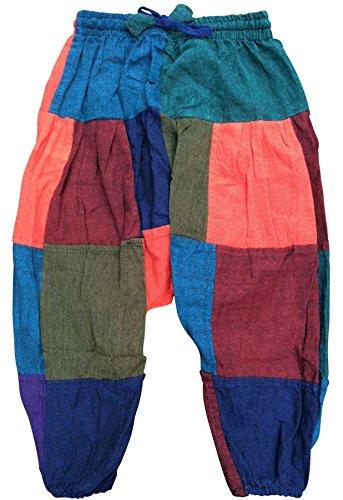 Shopoholic - Pantalones harem infantiles, pantalones bombachos estilo hindú, hippy, coloridos y cómodos