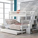 Baysitone Bunk Bed, Bunk Beds Twin Over Full Size, Bunk Bed with Trundle and Stairs, Solid Wood Bunk Bed Frame with 4 Storage for Kids, Girls, Boys, Toddler, No Box Spring Needed (White)