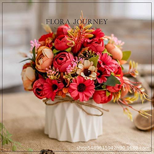 Kunstbloemen set (+ vaas) vaas van keramiek henneptouw verhoging kunstplant bruiloft huis bloempot decoratie