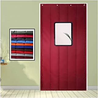 door curtain FQJYNLY Cotton Winter Thickened Insulation Doors and Windows Soundproofing Household Partition Air Conditioning Room Grommet PVC Soft Glass, 2 Colors, 36 Sizes