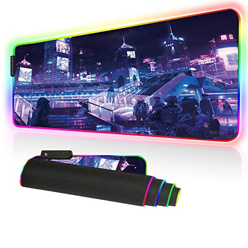Imegny RGB Gaming Mouse Pad, Extended Large Size Led Mouse Mat Natural Rubber Soft Pad for Professional Gamers (80x30rg zisecity 010)