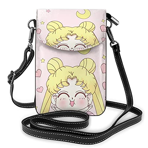 Sailor Moon Smile Coin Purse, Nano Print, Made of High-Quality Soft Synthetic Microfiber Leather, Cross-Body Mobile Phone Wallet, Wallet Bag, Small Cross-Body Wallet
