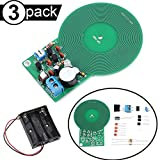 DAOKI 3Pcs Metal Detector Kit DIY Metal Detector Detection Module DC 3V-5V 60mm Non-Contact Sensor Board Module Electronic Soldering Practice Kit with Battery Case