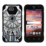 TurtleArmor | Compatible with ZTE Overture 2 Case | ZTE Atrium | ZTE Scend [Dynamic Shell] Hybrid Dual Layer Hard Shell Kickstand Silicone Case - Dreamcatcher Feathers