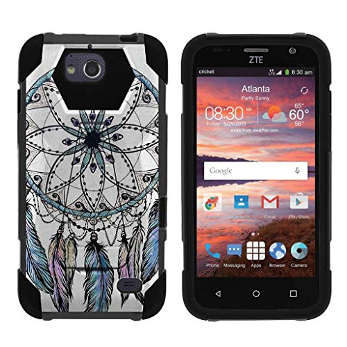 TurtleArmor   Compatible with ZTE Overture 2 Case   ZTE Atrium   ZTE Scend [Dynamic Shell] Hybrid Dual Layer Hard Shell Kickstand Silicone Case - Dreamcatcher Feathers