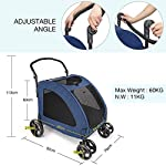 Pet Four-wheeled Stroller Dog Trolley Cat Carts Foldable for Medium Large Dogs Outgoing, Load Within 60kg (Blue) 10