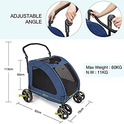 Pet Four-wheeled Stroller Dog Trolley Cat Carts Foldable for Medium Large Dogs Outgoing, Load Within 60kg (Blue) 3