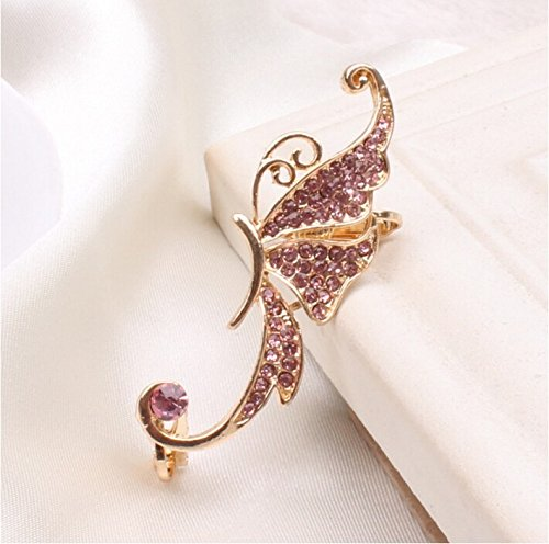 JD Million shop 2017 New Hot Fashion Fine Jewelry Gold Color Full Rhinestones Elves Butterfly Ear Clip Single Left ear Earrings For Women E-138