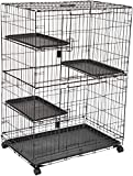 Amazon Basics Large 3-Tier Cat Cage Playpen Box Crate Kennel - 36 x 22 x 51 Inches, Black