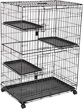 Amazon Basics Large Kennel 3-Tier Cat Cage Playpen Crate - 36 x 22 x 51 Inches Black