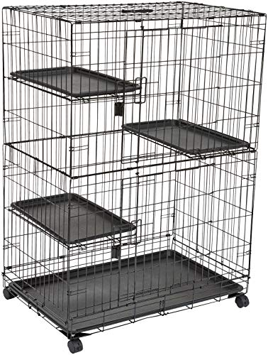 Amazon Basics – Großer Katzenkäfig mit 3 Ebenen, 91 x 57 x 128,5 cm, Schwarz