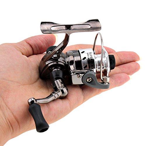 OriGlam Mini carretes de pesca Spinning Reel 4.3:1, diseño de metal, suave y potente, carretes de pesca giratorios para carpas, lubinas, truchas, agua dulce, agua salada