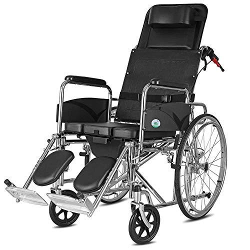 YASE-king Silla de rehabilitación médica, silla de ruedas, silla de ruedas Transporte 28.5Kg Apoyabrazos de elevación de la pierna de control del respaldo del asiento plegable portátil de 100 kg de ca