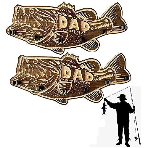 DJLOOKK Estante de caña de Pescar Vertical en Forma de pez de 2 Piezas, Soportes de caña de Pescar modulares con Soporte de 6 cañas, Soporte de caña de Pescar de Madera de Boca Grande para lubina
