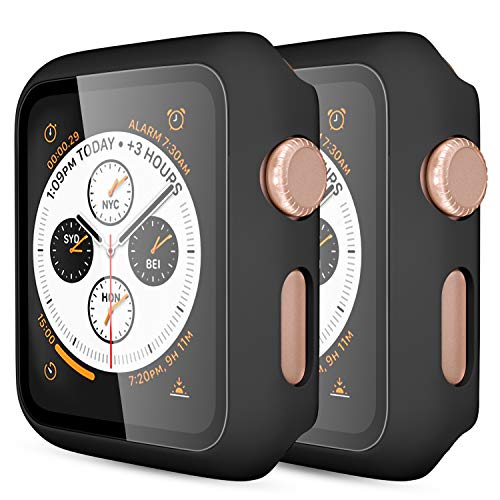 GEAK Case for Apple Watch 44mm Series 5 with Screen Protector, (2 Pack) Full Body Protective Bumper Case Cover for iWatch Series 5/4, Matte Black