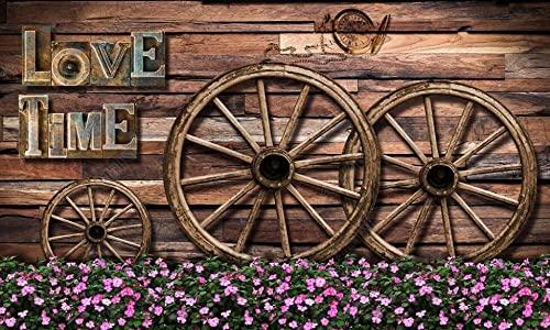 Papel Pintado 3D Fotomurales Flores De Rueda De Madera De Tablero De Madera Vintage Pared Murales Papel Tapiz Sala De Estar Dormitorio Pintura Decorativa Mural,350x250cm