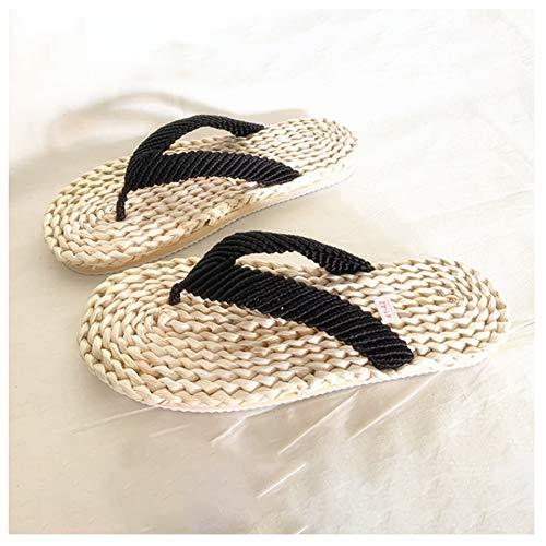QfireQ Herren Stroh gewebte Hausschuhe Handgefertigte Sandalen Schwarze Schnürung Casual Style Flip Flops Leichte Slip Sommersandale,Grass Color,42/43