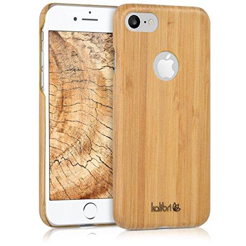 kalibri Funda Compatible con Apple iPhone 7/8 - Carcasa Trasera de bambú - Cover Ultra Delgado - marrón Claro