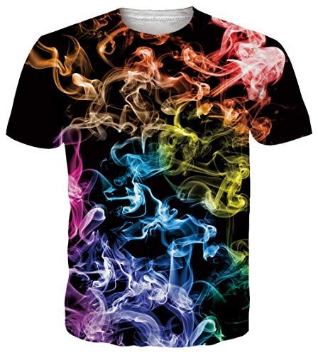 00s Younger Girls T Shirt 3D Funny Print Colorful Smoke Pattern Graphic Tees Summer Beach Short...
