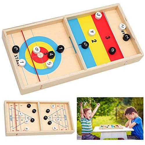 2 in 1 Gioco di hockey su ghiaccio da tavolo da battaglia, CestMall Giochi di battaglia da tavolo classici in legno per bambini, Gioco di hockey da tavolo Slingshot Bouncing Chess Gioco da hockey