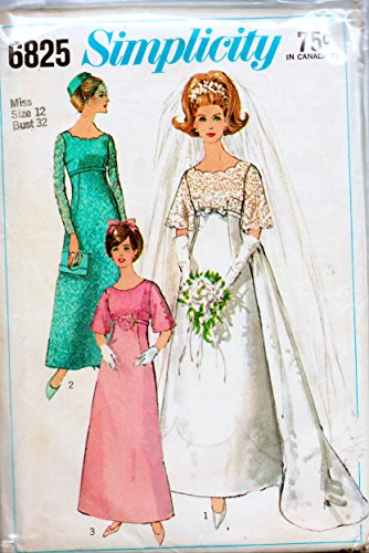 Simplicity 6825 Misses Wedding Dress with Detachable Train or Bridesmaids Dress or Evening Gown Sewing Pattern Check Offers for Size