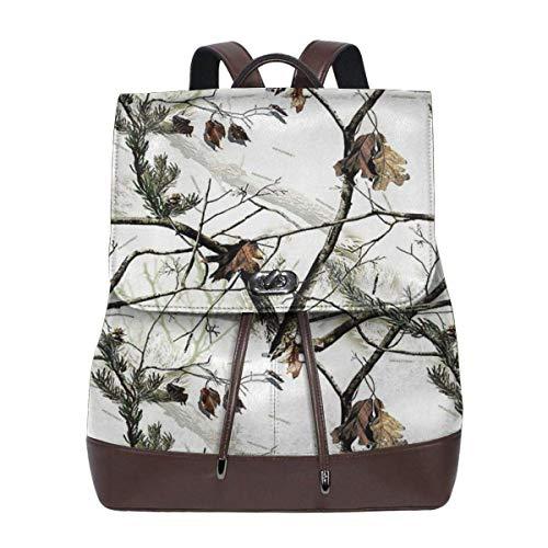 Flyup Women's Leather Backpack Realtree Winter Camo Branches Laptop Bag Elegant Casual Daypack Travel Shoulder Bag For Men