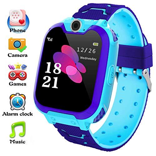 Hangang Reloj para Niños Niña smartwatchLa Musica y 7 Juegos Smart Watch Phone 2 Vías Llamada Despertador de Cámara para Reloj Niño y Niña 3-12 años(Azul)