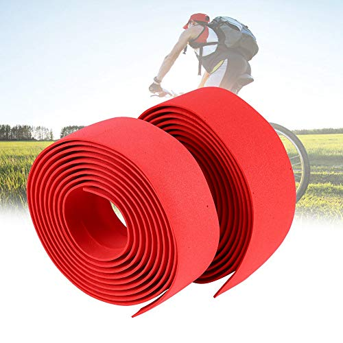GLOGLOW 2PCS Bicycle Bar Type, Anti-slippery Cycling Road Bike Bicycle Handlebar Reflective Grip Wrap Tape + 2 Bar Plugs (Red)