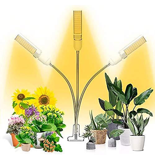 ZGNB Lámpara de Planta Espectro Completo 30W Lámpara de Plantas Crecimiento Regulable 360° Lámpara de Cultivo LED 3 Cabezales 5 Brillo 3 Modos con Temporizador de Encendido 3/6/12 H