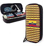 Estuche de bolígrafo con bandera de Ecuador Bolso de lápiz de gran capacidad Estuche de maquillaje Papelería duradera para estudiantes con doble cremallera