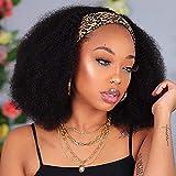 Headband Wig Human Hair Curly 12 Inch Headband Wigs for Black Women Human Hair Kinky Curly No Lace Front Wig Glueless Afro Kinky Curly Headband Wig Human Hair Wear and go Wigs with Headbands Attached