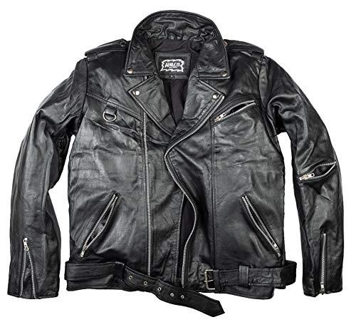 80er Lederjacke Metal Lederjacke Lederjacke Brando Style Biker Lederjacke (L)