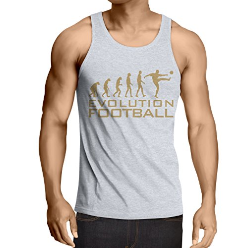 lepni.me Camisetas de Tirantes para Hombre La evolución del fútbol - Camiseta de fanático del Equipo de fútbol de la Copa Mundial (X-Large Blanco Oro)