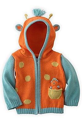 Joobles Organic Baby Cardigan Sweater - Jiffy The Giraffe (0-6 Mos) Orange
