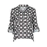 Photo de KEERADS T-Shirt Femmes Plus Size Button Chemisier Hauts Chemise Col en V Manches Longues Géométrie Points Impression Grande Taille Tops en Vrac Blouse Chemise(L2,Gris)