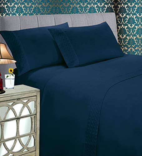 Elegant Comfort Luxury Best, Soft Coziest 4-Piece Bed Set 1500 Thread Count Egyptian Quality  Quilted Design on Flat Sheet and Pillowcases  Wrinkle Free, 100% Hypoallergenic, King, Navy