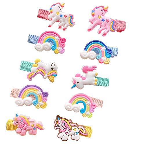 10 Stücke Baby Mädchen Haarspangen Kleine Mädchen Haarspangen Wolken Regenbogen Einhorn Haarspange Kinder süße Haarspangen Kinder Haarschmuck Haarspange für Kinder