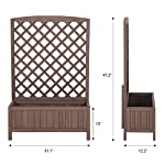 """Raised Garden Bed Outdoor Planter Box with Trellis for Flower Standing Vertical Lattice Panels for Vine 31"""" L x 12"""" W x 47"""" H 9 OVERALL DIMENSIONS: 31.1""""(L) x 12.2""""(W) x47.2""""(H).garden raised bed perfect for all kinds of plants, anywhere - gardens,yard, terraces, balconies, corridors,patios, turn your space into a green one. Garden planter with trellis creates a good stable environment for your creeping and vine plants.Any kind of Light gardening tools and beautiful decorations can be hung on the trellis to beautify your garden. Reinforced thick frame supported flower box can strongly hold for the heavy plants,soil, water. Large space to grow anything from flowers to vegetables to herbs,it can serve a decorative work,also fully plays it practical role."""