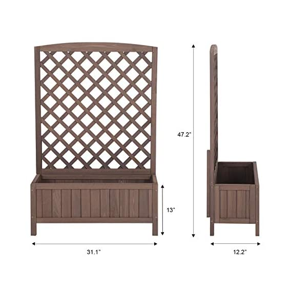 """Raised Garden Bed Outdoor Planter Box with Trellis for Flower Standing Vertical Lattice Panels for Vine 31"""" L x 12"""" W x 47"""" H 3 OVERALL DIMENSIONS: 31.1""""(L) x 12.2""""(W) x47.2""""(H).garden raised bed perfect for all kinds of plants, anywhere - gardens,yard, terraces, balconies, corridors,patios, turn your space into a green one. Garden planter with trellis creates a good stable environment for your creeping and vine plants.Any kind of Light gardening tools and beautiful decorations can be hung on the trellis to beautify your garden. Reinforced thick frame supported flower box can strongly hold for the heavy plants,soil, water. Large space to grow anything from flowers to vegetables to herbs,it can serve a decorative work,also fully plays it practical role."""