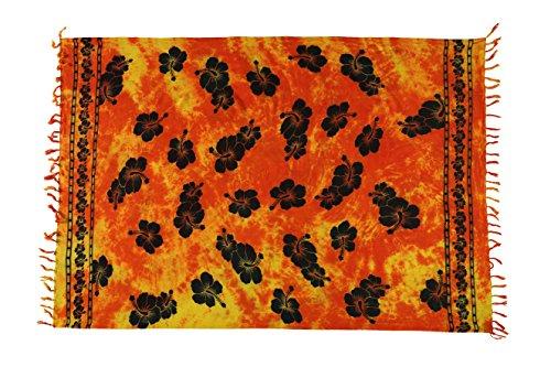 Ciffre Sarong Pareo Wickelrock Strandtuch Tuch Wickeltuch Handtuch Bunte Sommer Muster Set Gratis Schnalle Schließe (Orange Gelb Blume C5)