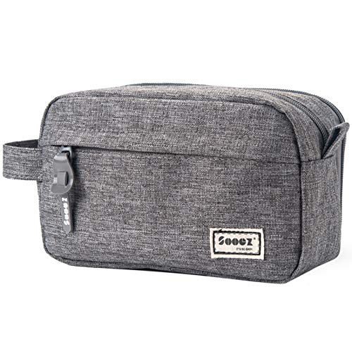 Sooez High Capacity Pen Case, Durable Pencil Bag Stationery Zipper Pouch, Portable Journaling Supplies with Easy Grip Handle & Loop, Asthetic Supply for Adults, Grey