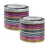 Dadabig 60 Rotoli di Striscia per Unghie Nastro Adesivo per Nail Art Nastro Colorato della Striatura per Decorazione Unghie Naturali e Finte-30 Colori